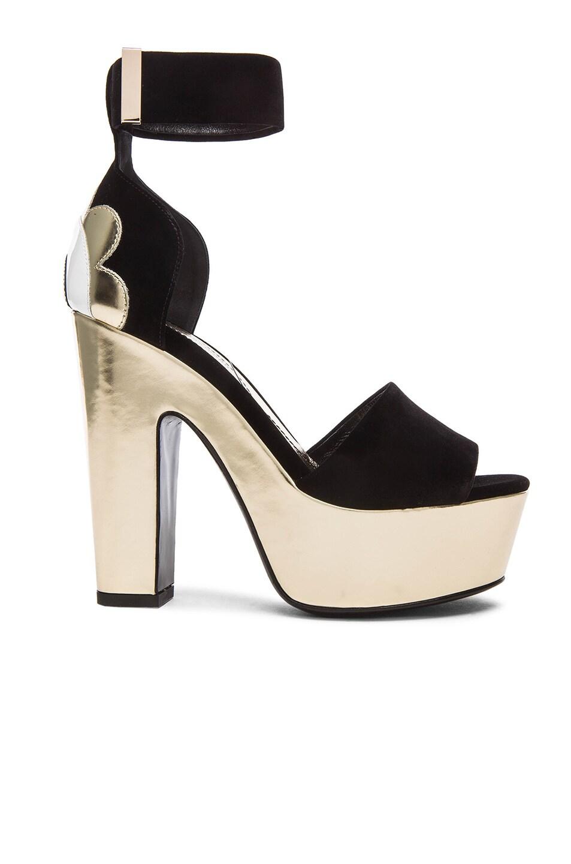 Image 1 of Nicholas Kirkwood 130mm Pollypetal Velvet Platform Heels in Black Velvet