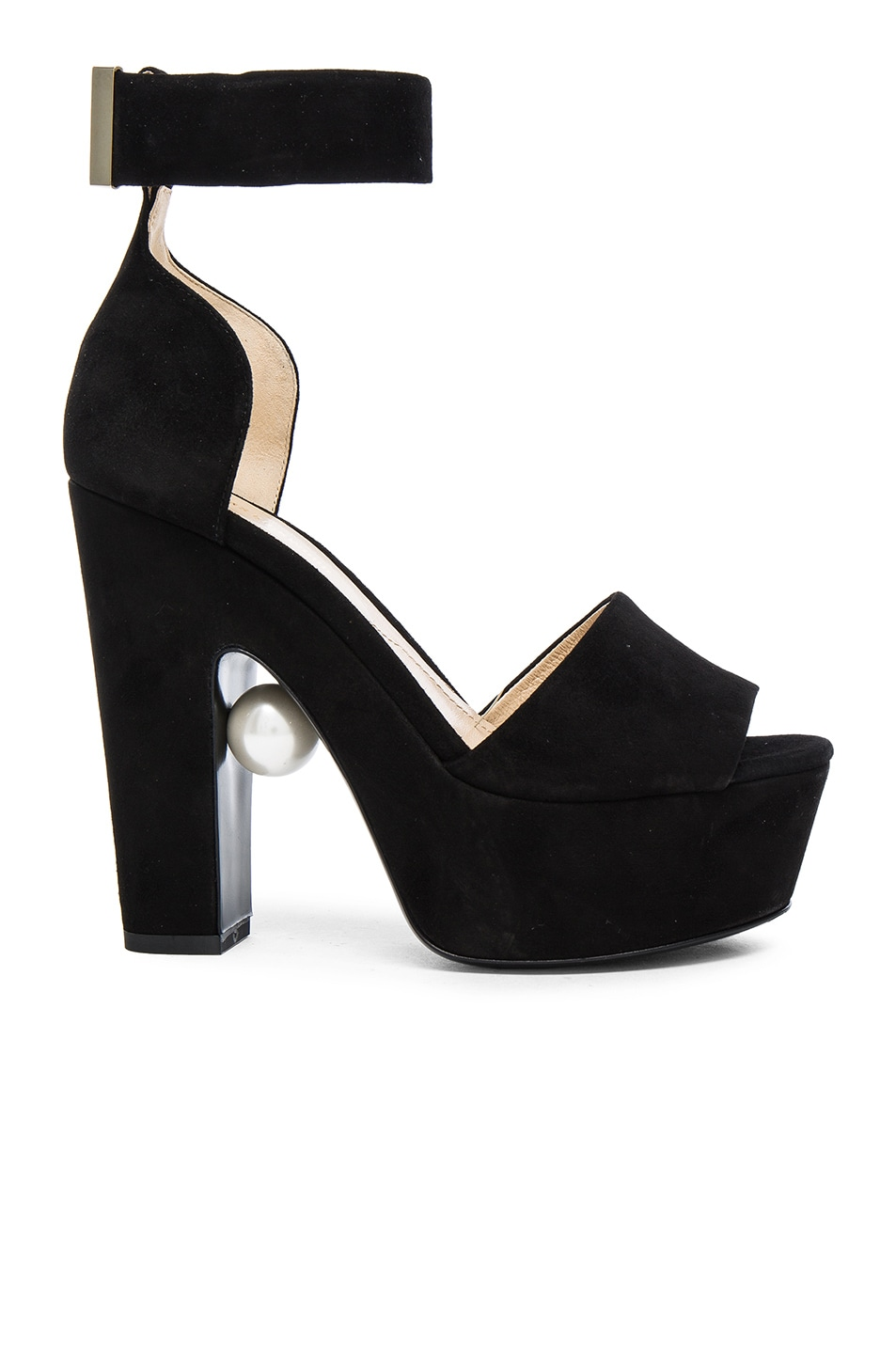 Image 1 of Nicholas Kirkwood 130mm Pearl Strap Heels in Black Suede