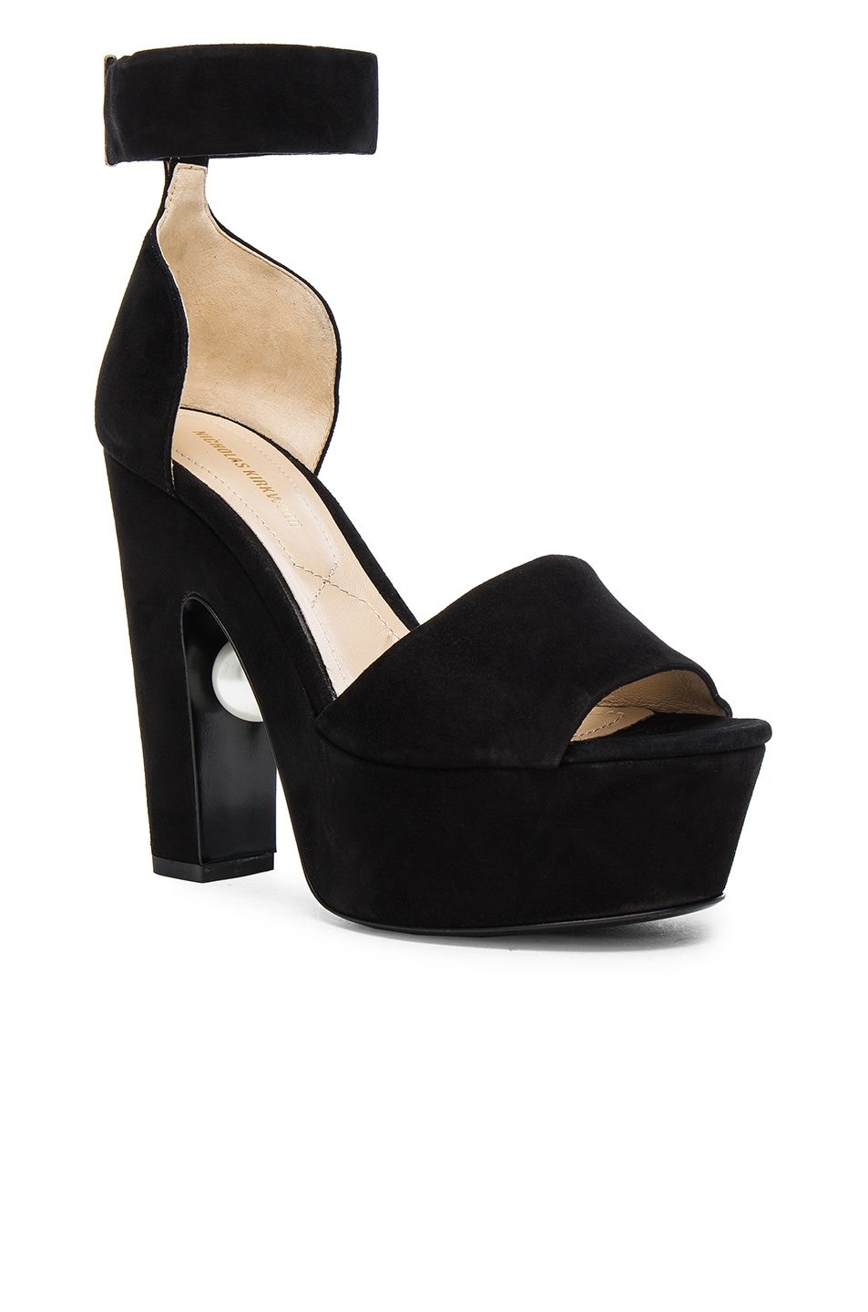 Image 2 of Nicholas Kirkwood 130mm Pearl Strap Heels in Black Suede