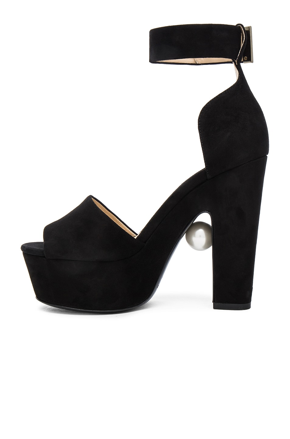 Image 5 of Nicholas Kirkwood 130mm Pearl Strap Heels in Black Suede