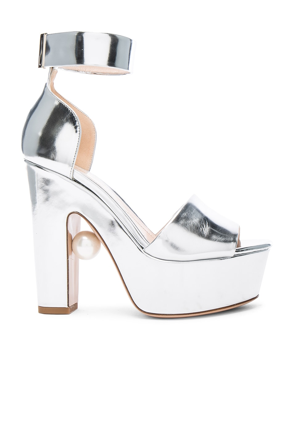 Image 1 of Nicholas Kirkwood Leather Maya Pearl Heels in Silver Metallic