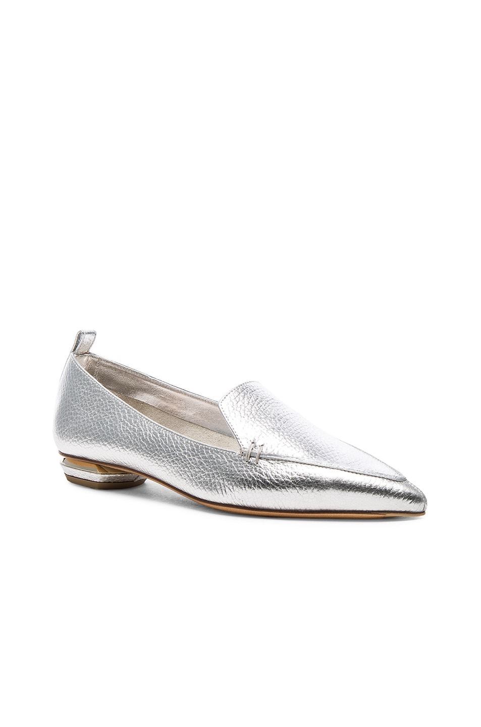 Image 2 of Nicholas Kirkwood Leather Beya Loafers in Silver