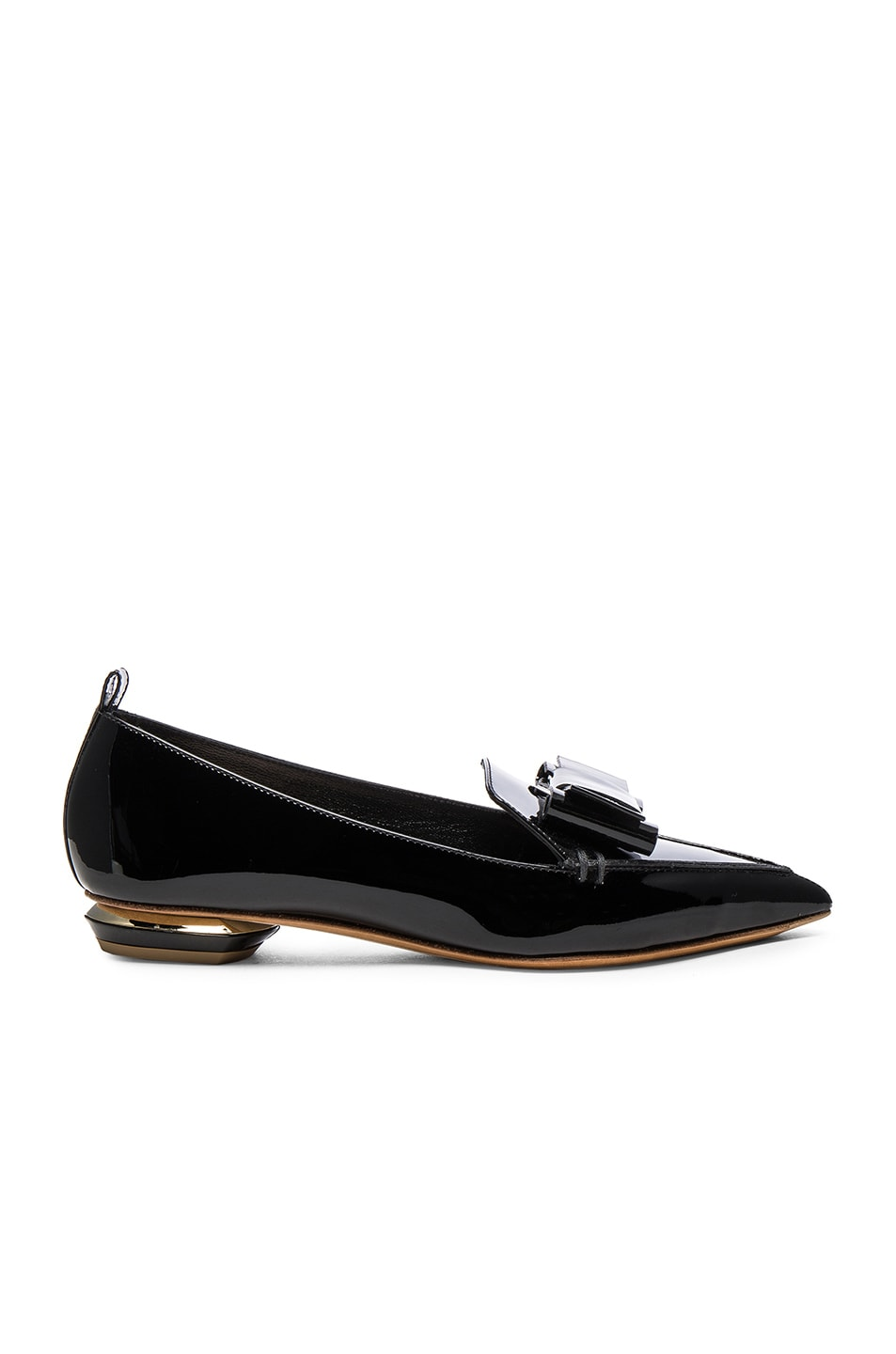 Image 1 of Nicholas Kirkwood Patent Leather Bow Beya Loafers in Black