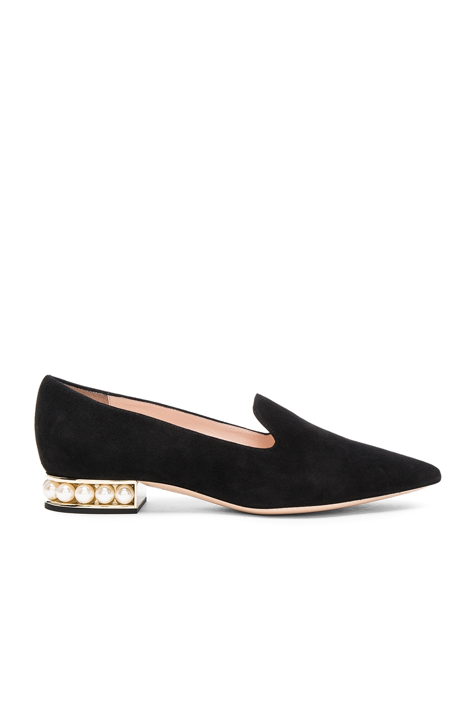 Image 1 of Nicholas Kirkwood Suede Casati Pearl Loafers in Black