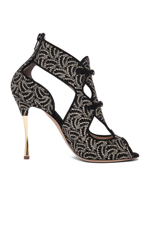 Image 1 of Nicholas Kirkwood Open Toe Cut Out Suede Heels in Gold & Black