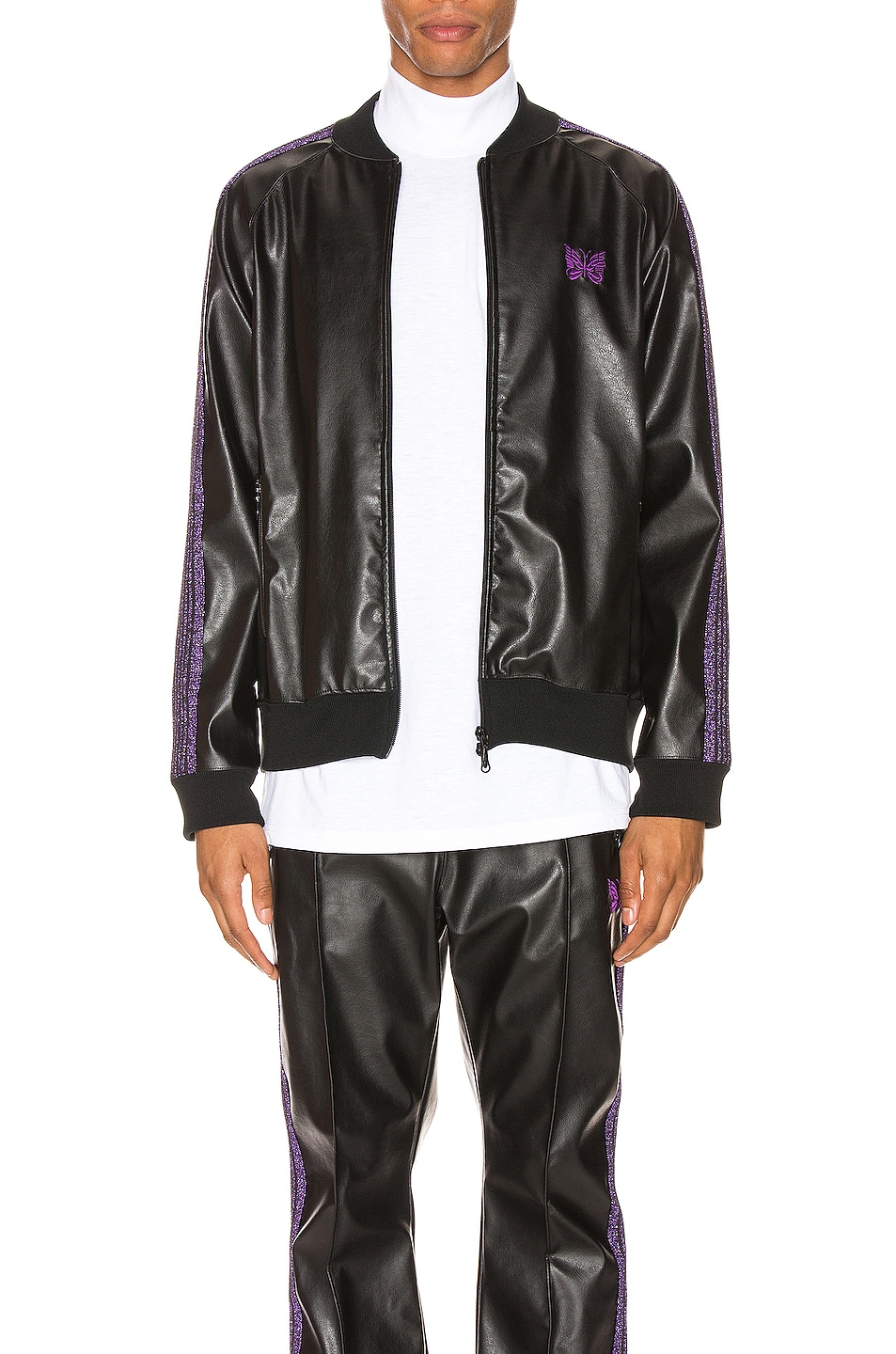 Image 1 of Needles Rib Collar Track Jacket in Black