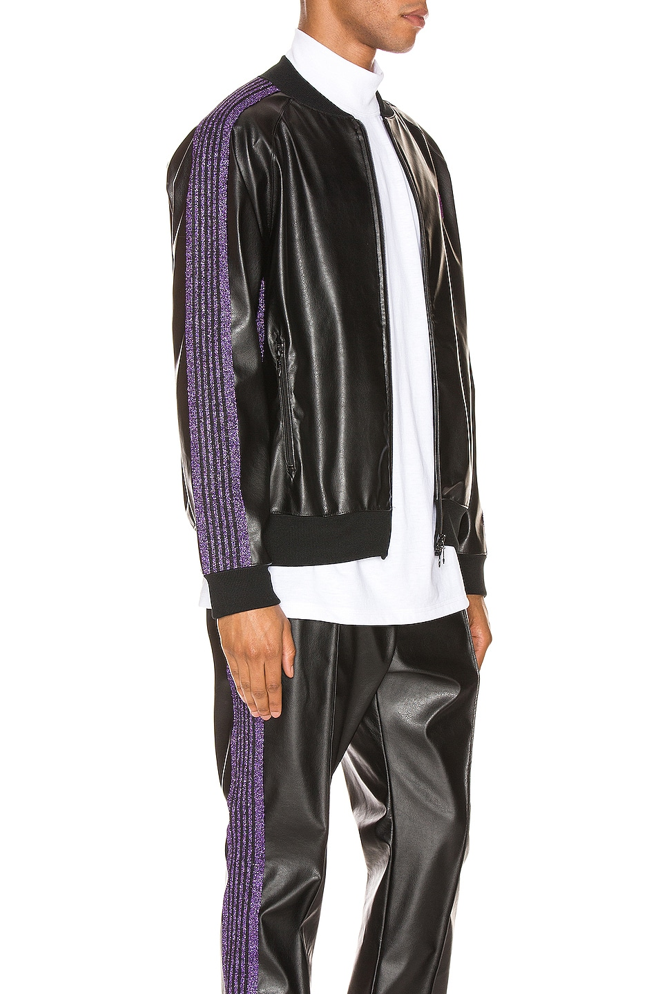 Image 3 of Needles Rib Collar Track Jacket in Black
