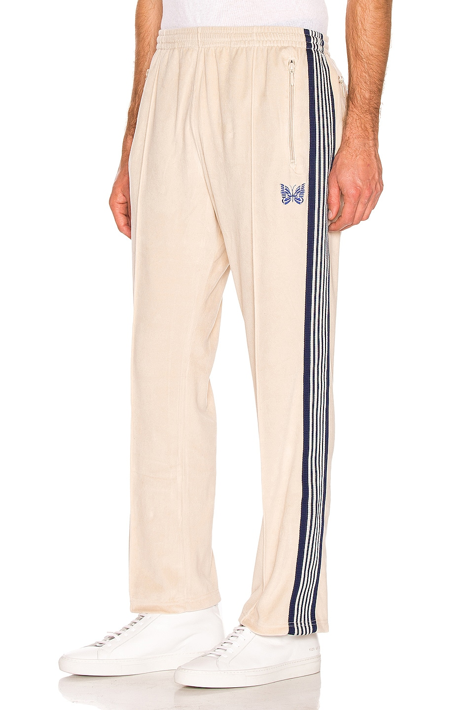 Image 1 of Needles Narrow Velour Track Pant in Beige