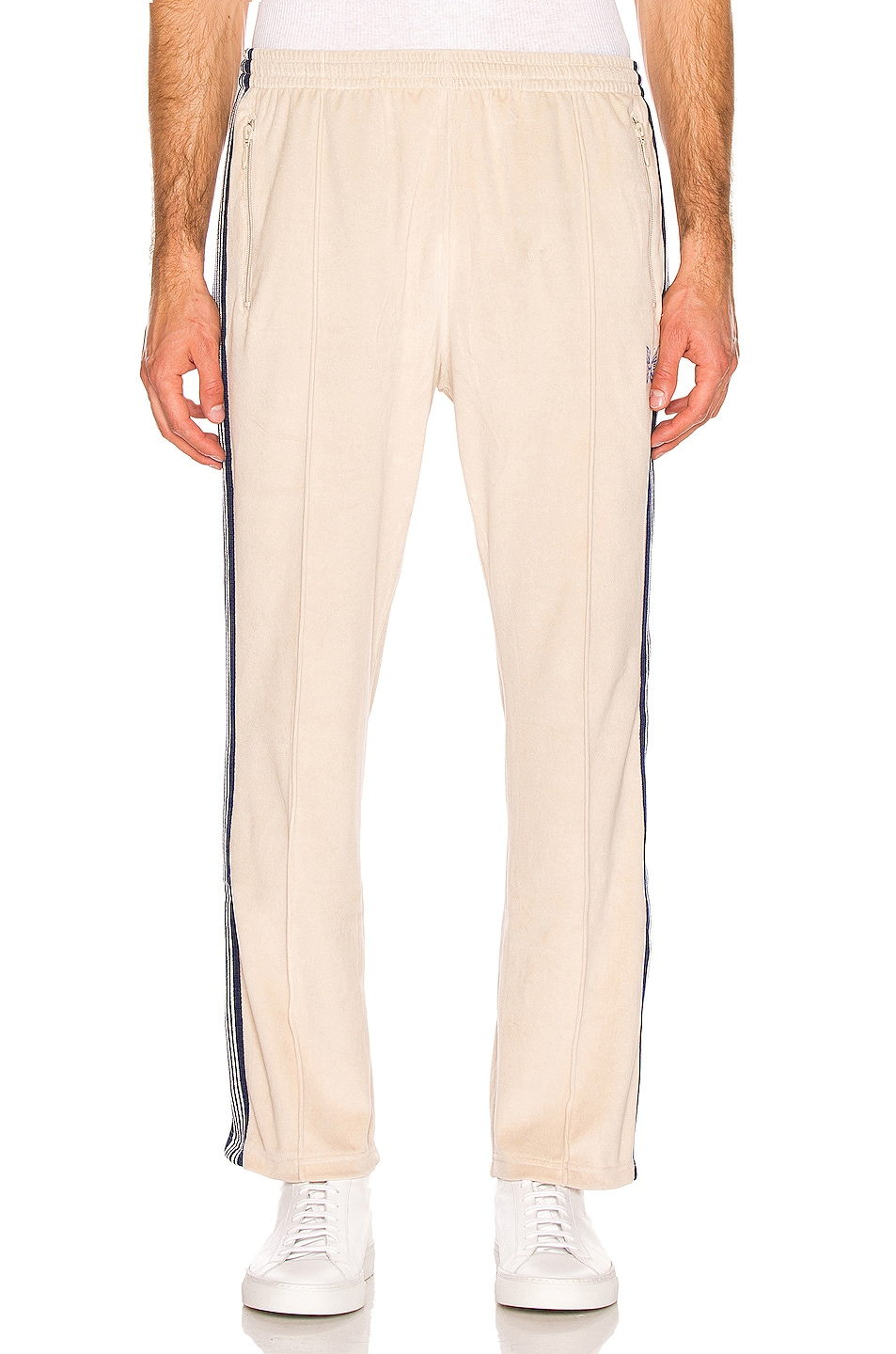 Image 2 of Needles Narrow Velour Track Pant in Beige