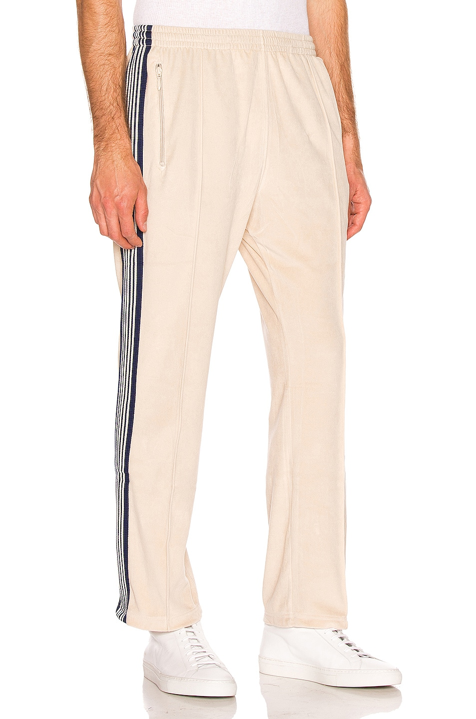 Image 3 of Needles Narrow Velour Track Pant in Beige