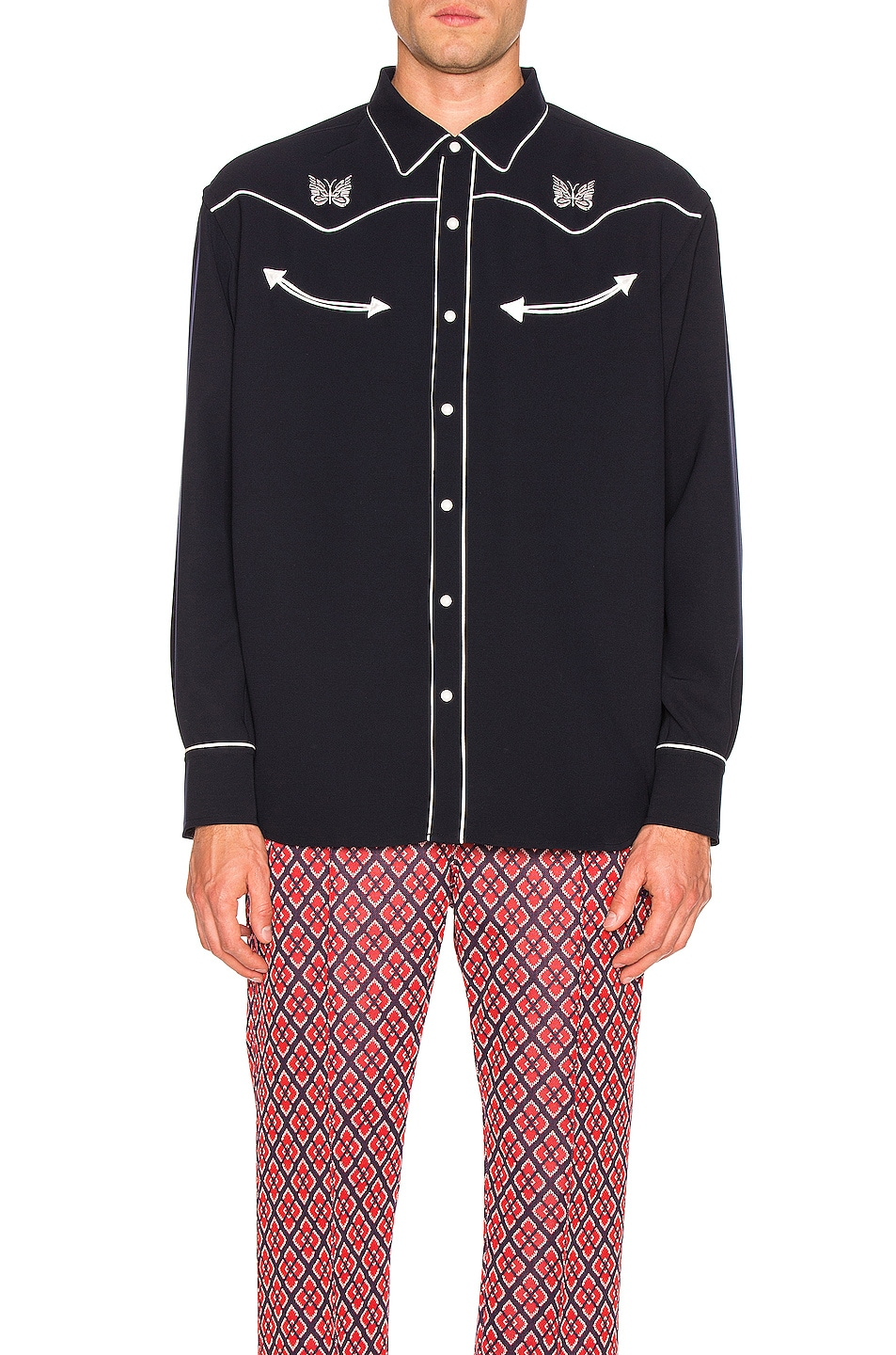 Image 1 of Needles Papillion Embroidered Cowboy Shirt in Navy