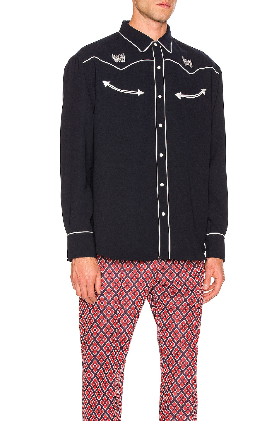 Image 2 of Needles Papillion Embroidered Cowboy Shirt in Navy