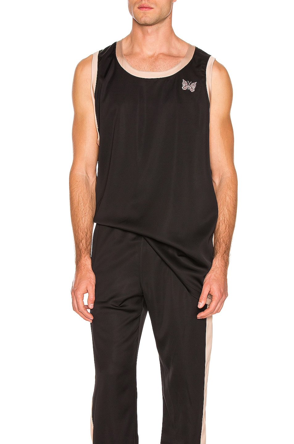 Image 1 of Needles Papillion Embroidered Side Line Tank Top in Black