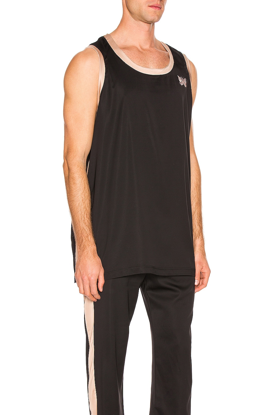 Image 2 of Needles Papillion Embroidered Side Line Tank Top in Black