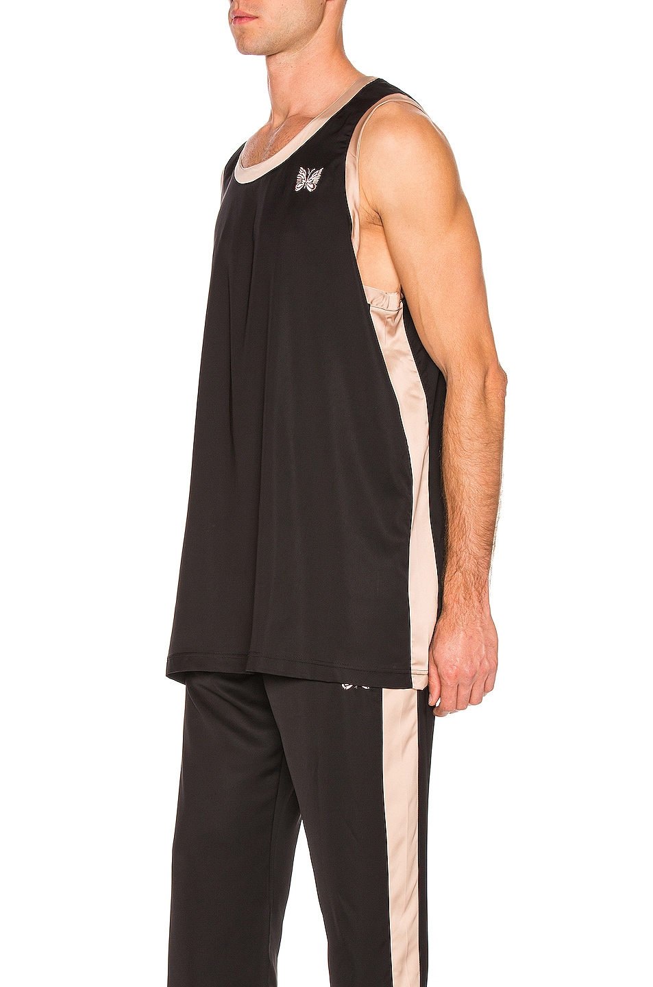 Image 3 of Needles Papillion Embroidered Side Line Tank Top in Black