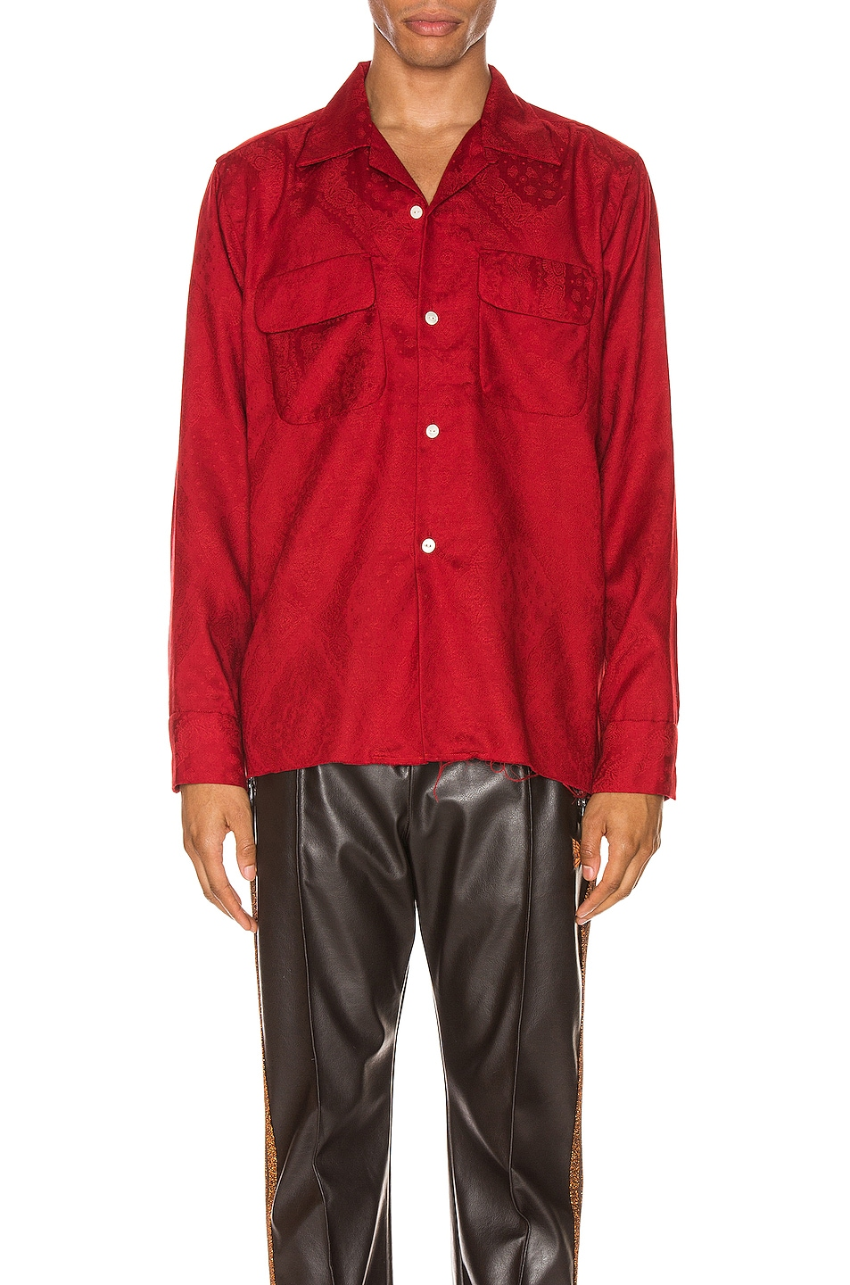 Image 1 of Needles Cut-Off Bottom Classic Shirt in Red