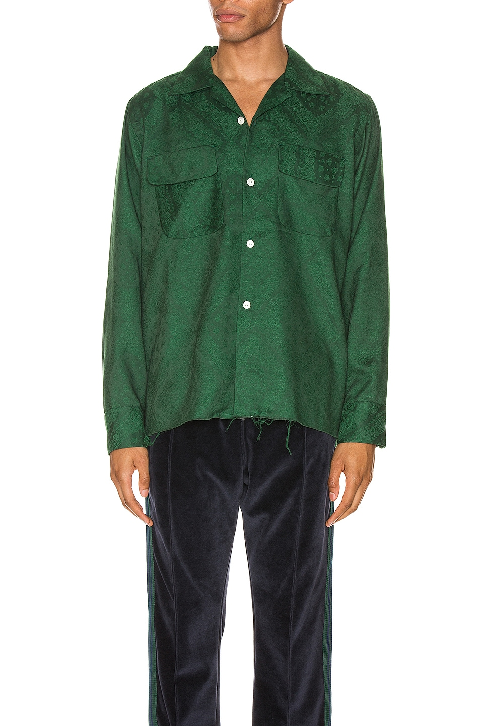 Image 1 of Needles Cut-Off Bottom Classic Shirt in Green
