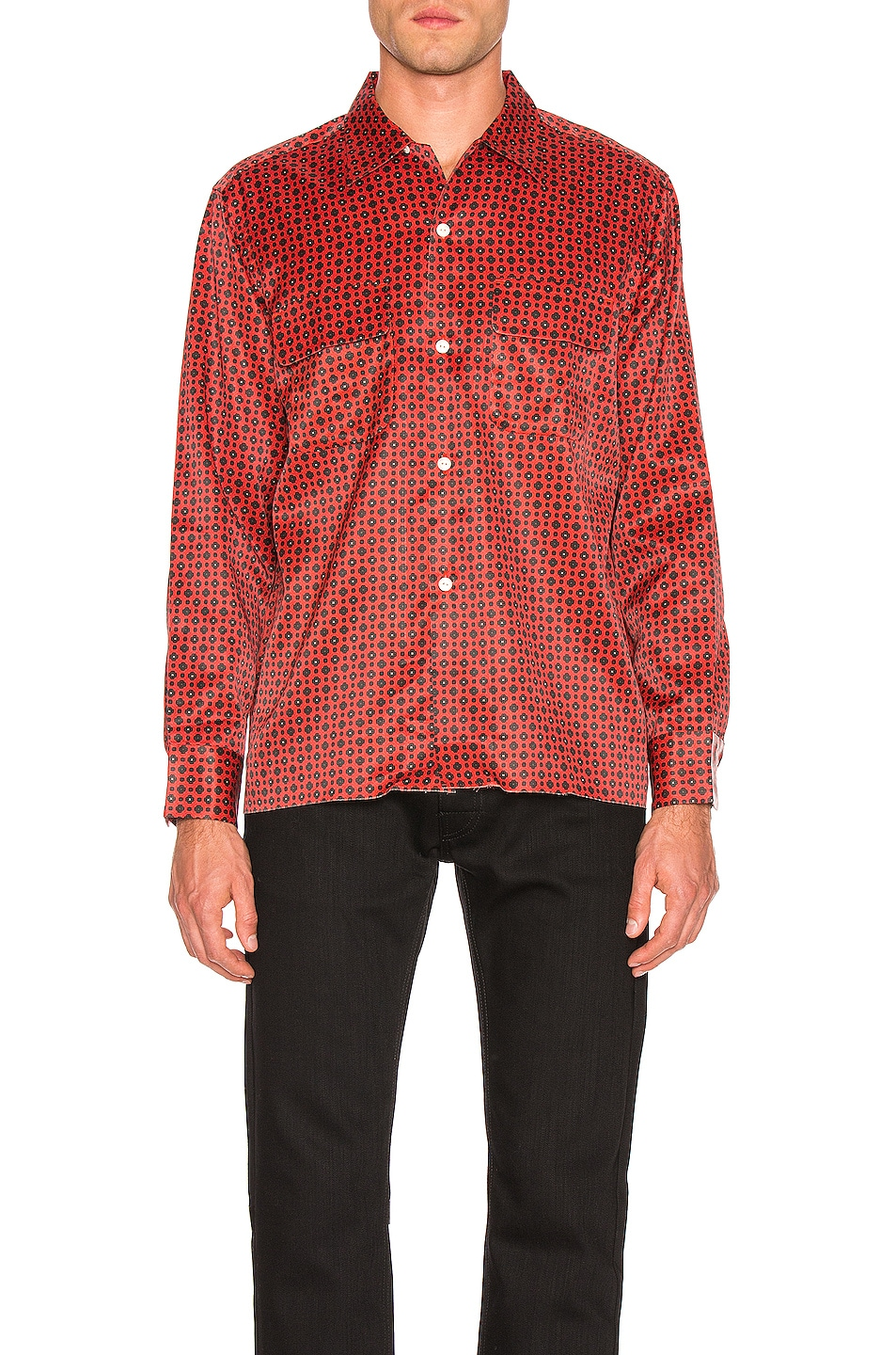 Image 2 of Needles Cut-Off Bottom Classic Shirt in Red