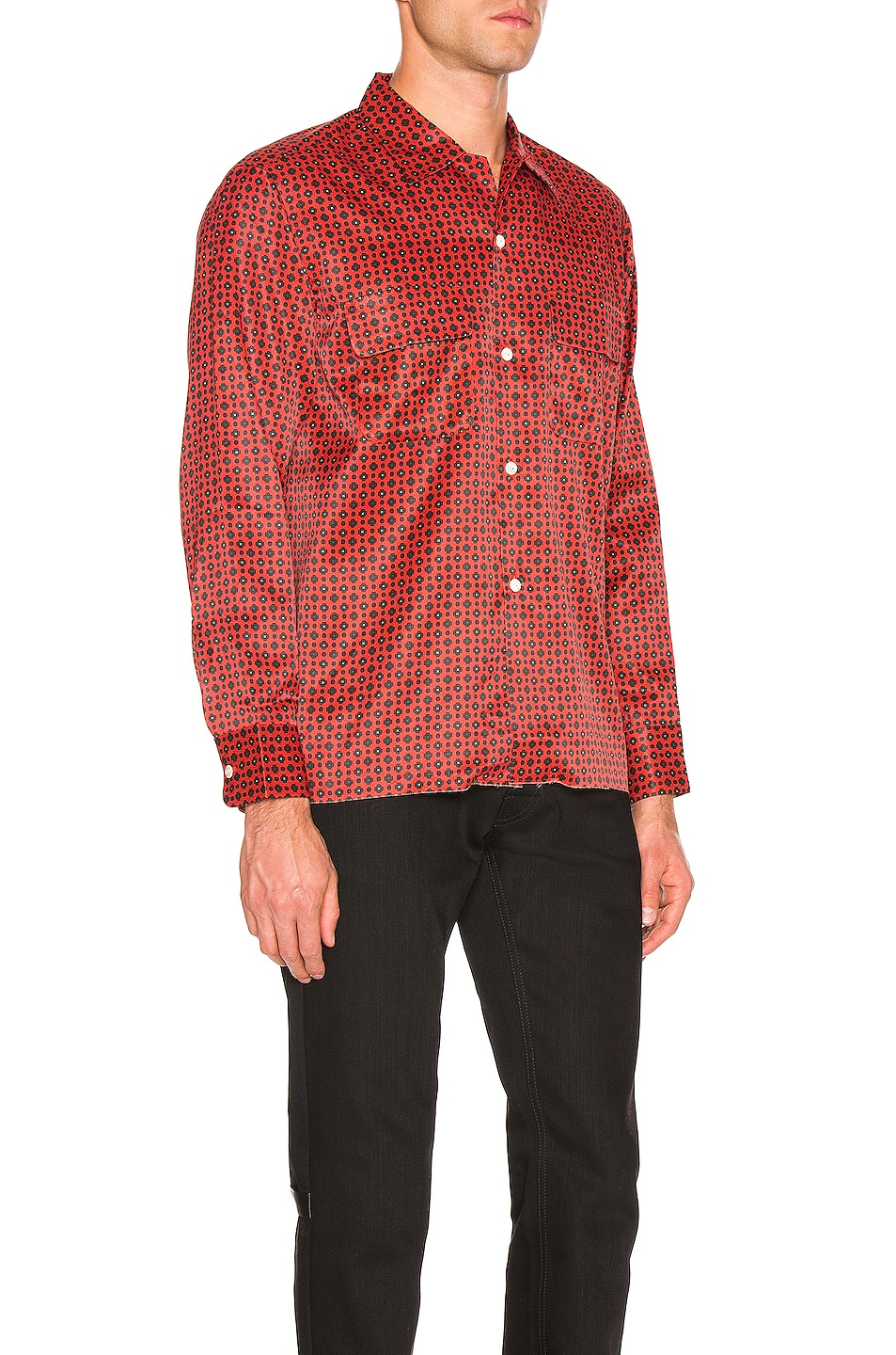 Image 3 of Needles Cut-Off Bottom Classic Shirt in Red