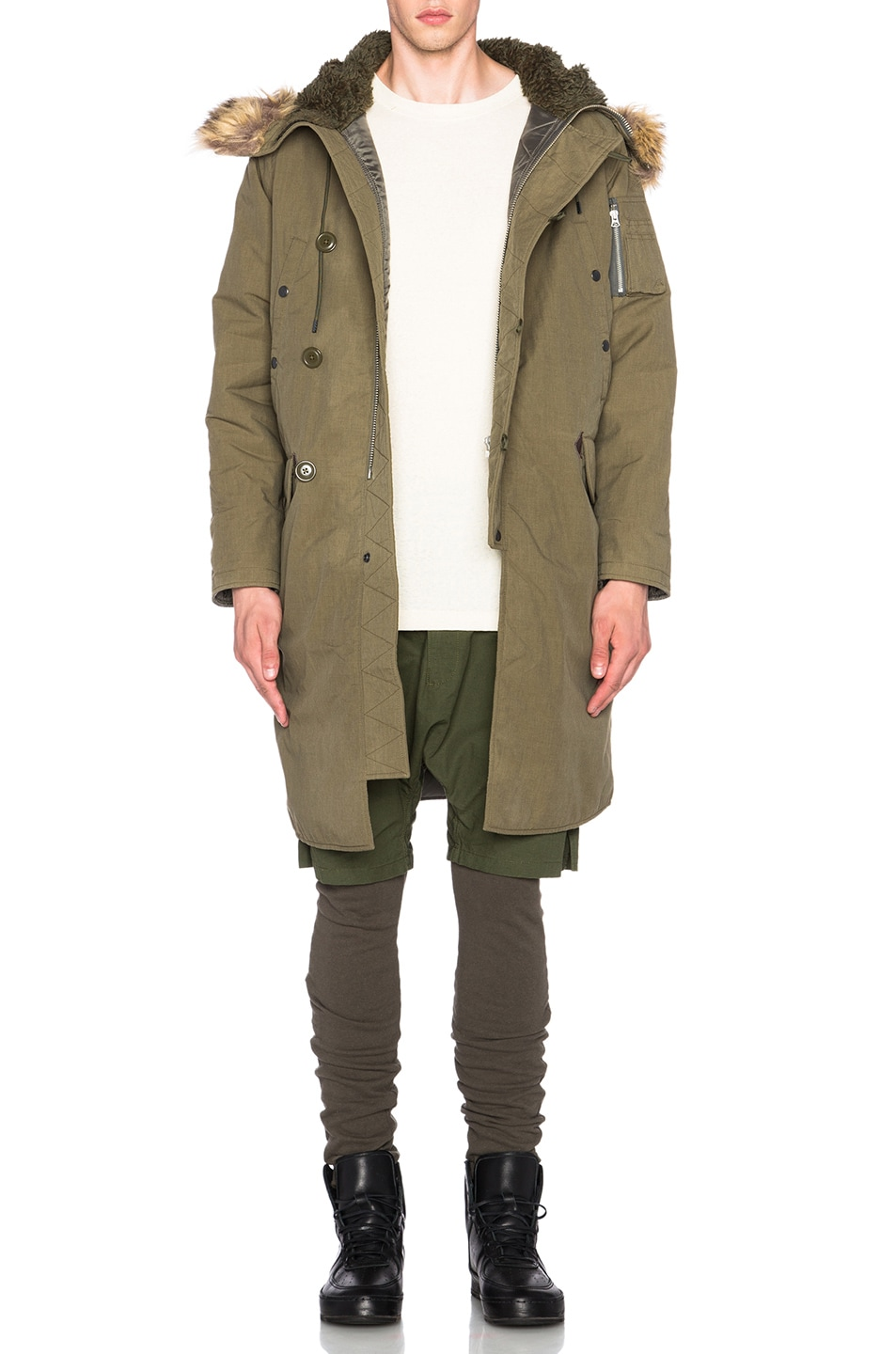Image 1 of NLST Nylon Parka With Faux Fur Trim in Olive Drab