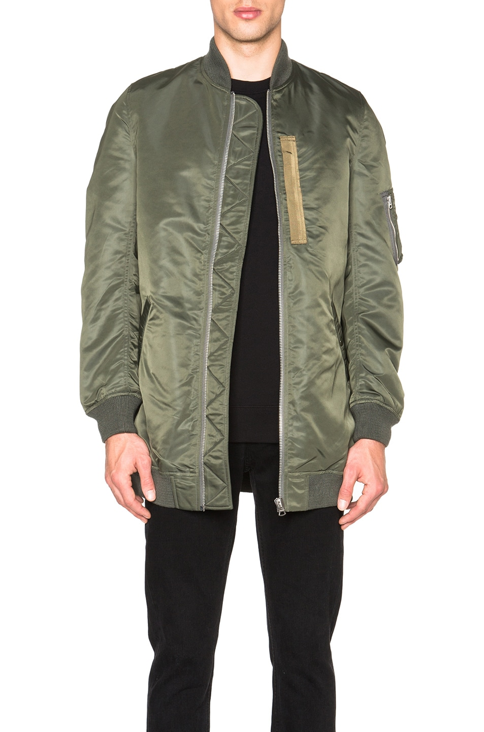 Image 1 of NLST Heavy Nylon Flight Jacket in Olive