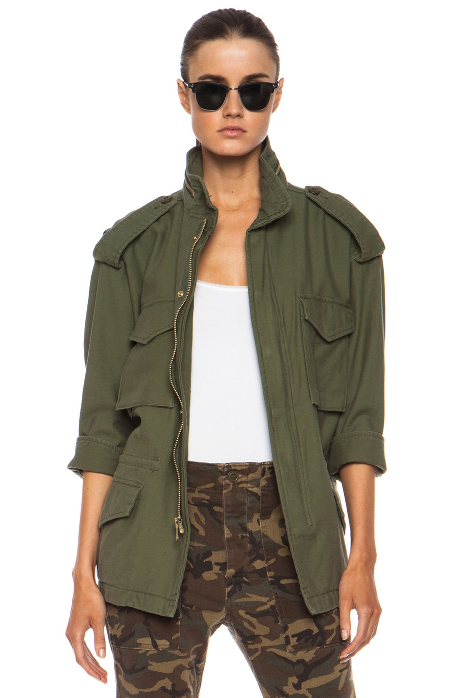 Image 1 of NLST Oversized Cotton M65 Jacket in Olive Drab
