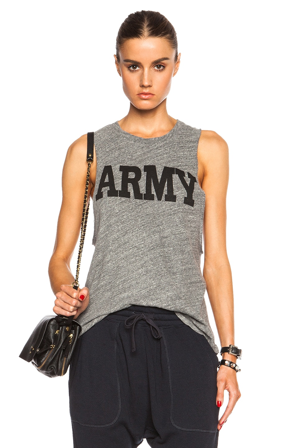 Image 1 of NLST Racerback Army Tee in Heather Grey
