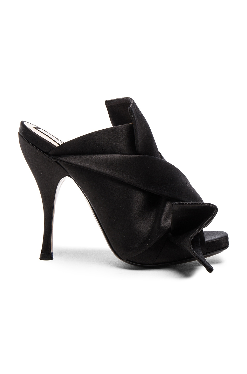 Image 1 of No. 21 Satin Bow Mules in Nero
