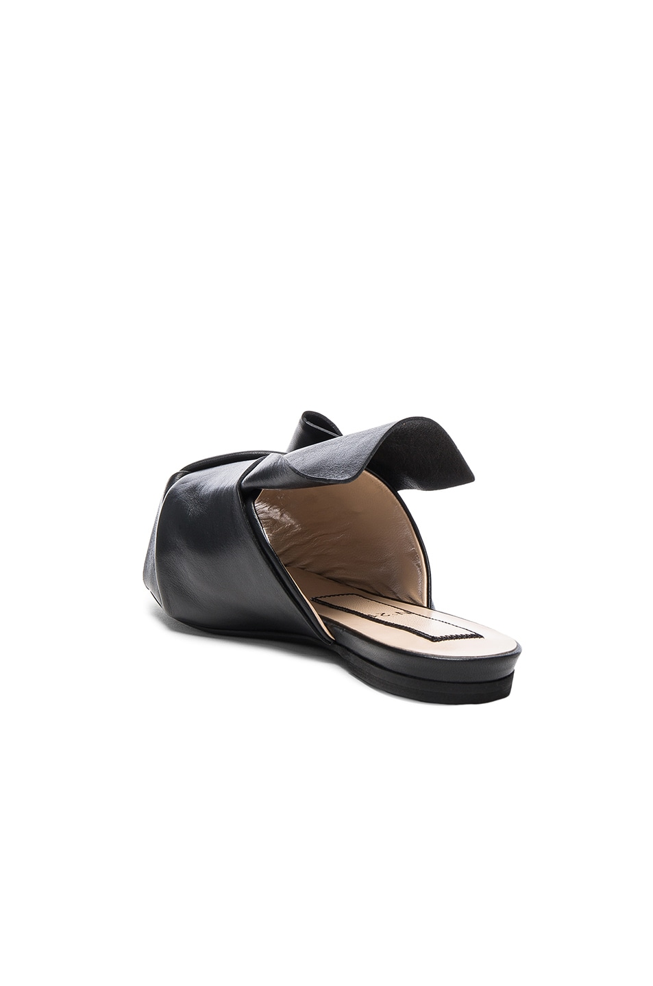 Image 3 of No. 21 Knot Front Leather Sandals in Black Leather