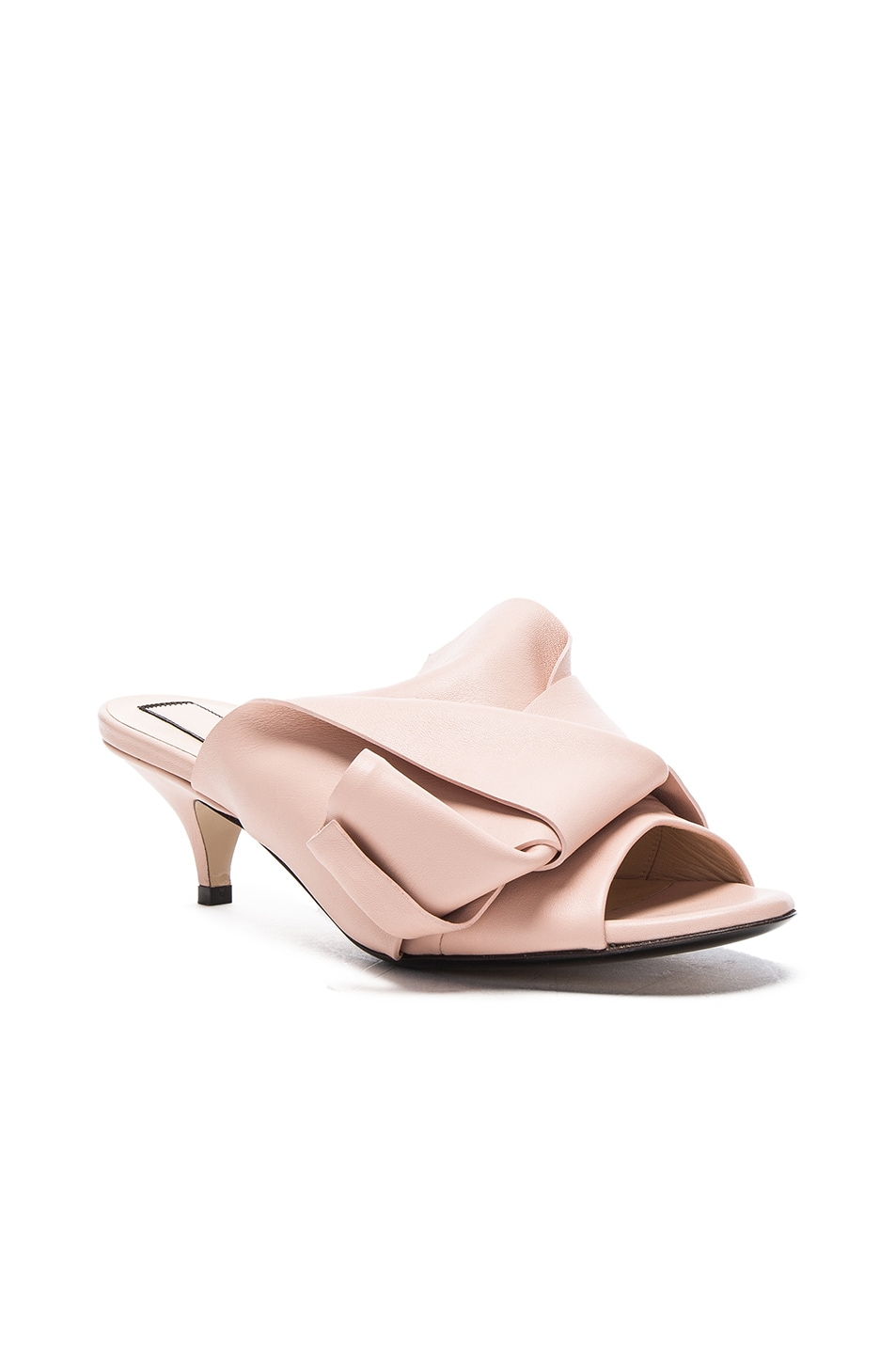 Image 2 of No. 21 Bow Kitten Heel Mule in Nude Leather