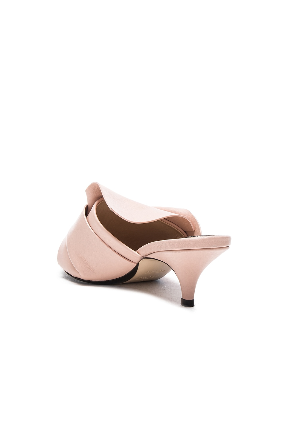 Image 3 of No. 21 Bow Kitten Heel Mule in Nude Leather