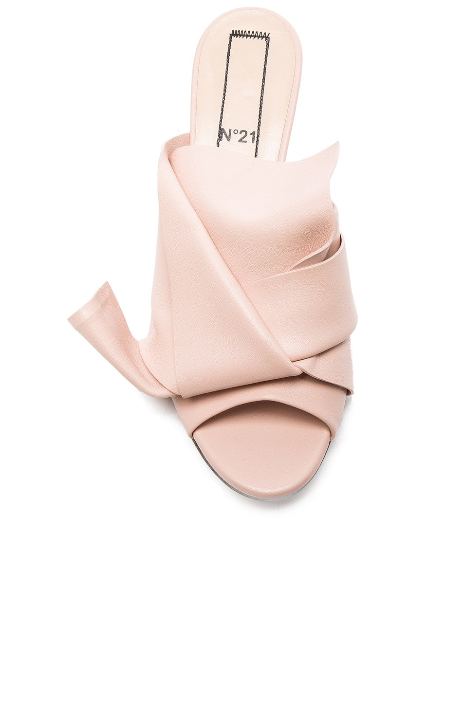 Image 4 of No. 21 Bow Kitten Heel Mule in Nude Leather