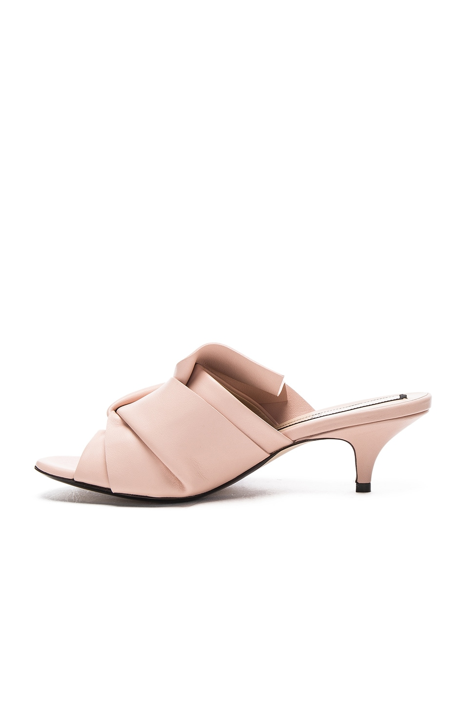 Image 5 of No. 21 Bow Kitten Heel Mule in Nude Leather