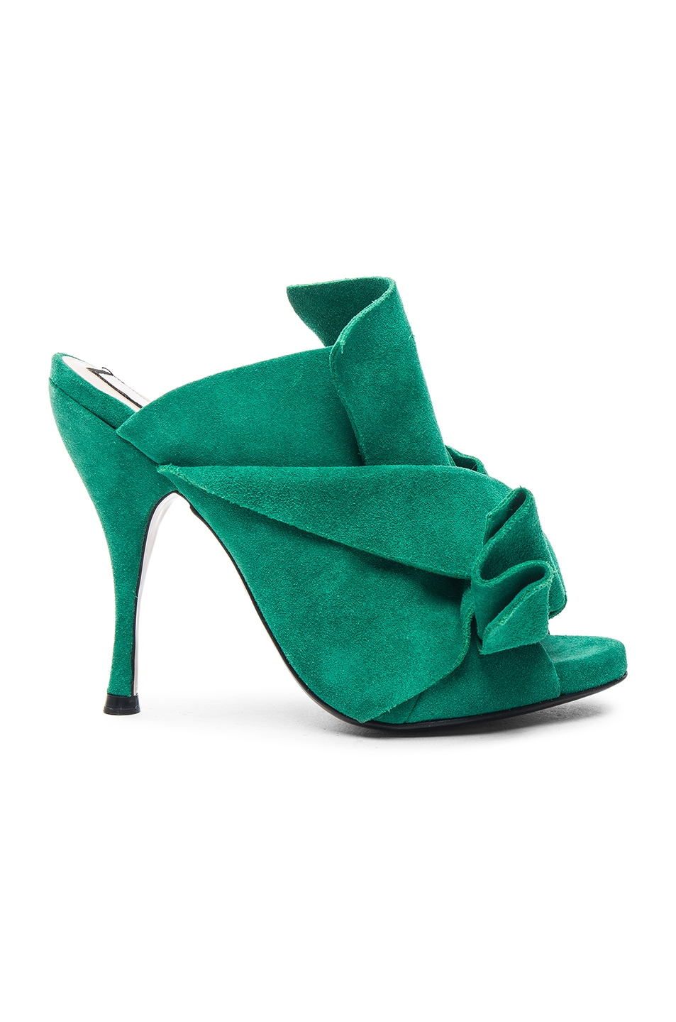 Image 1 of No. 21 Bow Mule in Green Suede