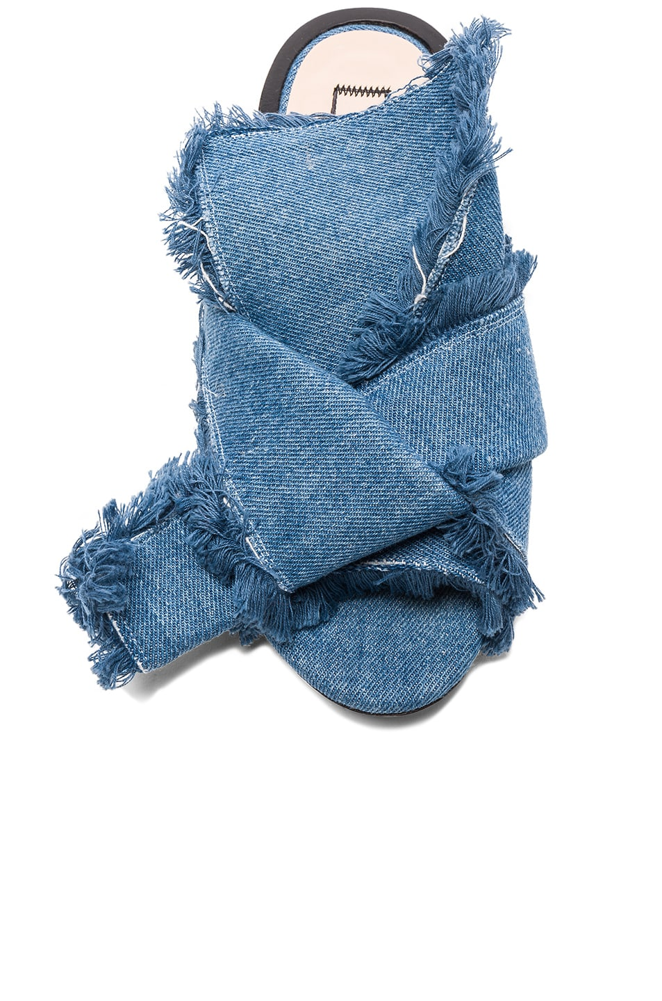 Image 4 of No. 21 Bow Denim Mules in Denim Blue