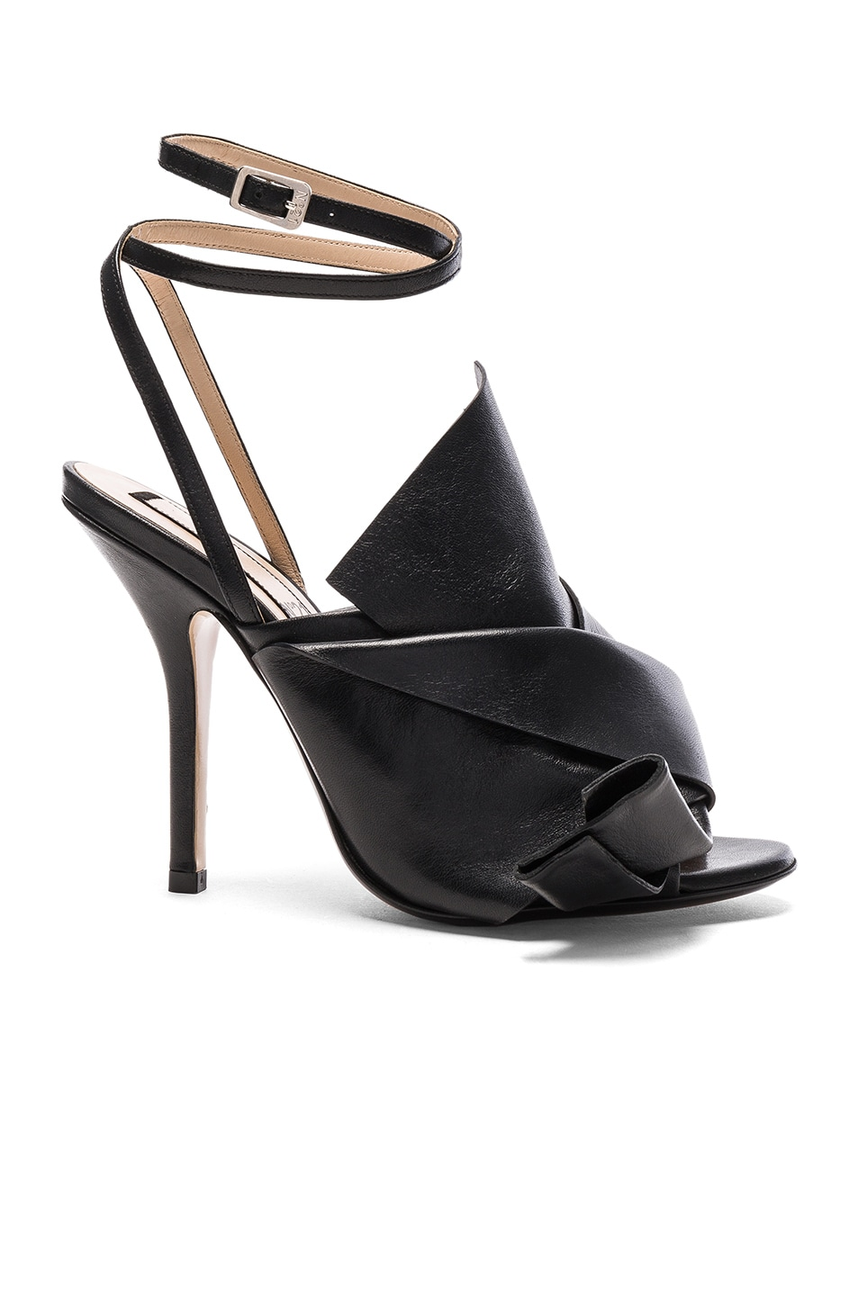 Image 1 of No. 21 Bow Leather Heels in Black