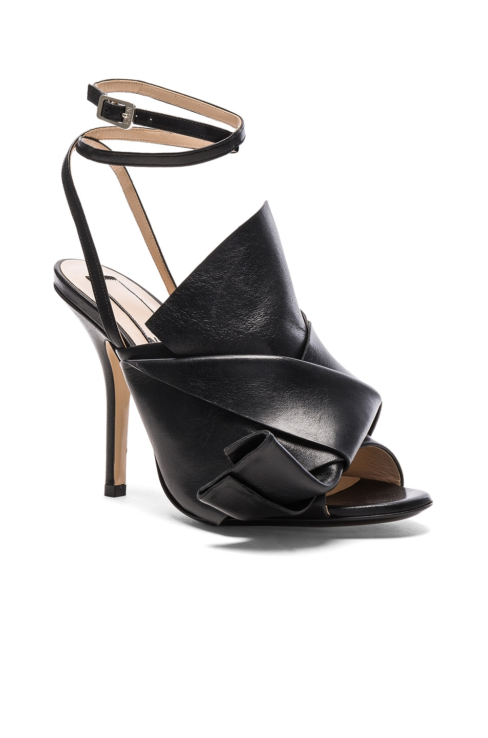 Image 2 of No. 21 Bow Leather Heels in Black