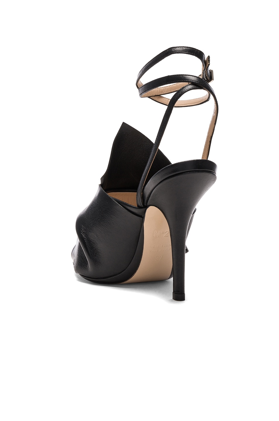Image 3 of No. 21 Bow Leather Heels in Black