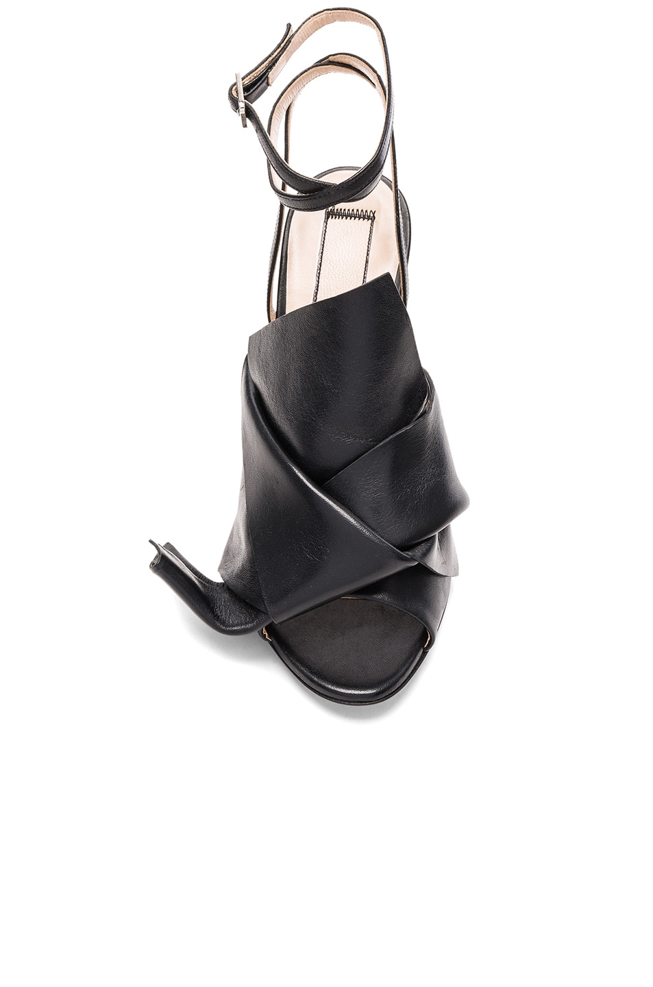 Image 4 of No. 21 Bow Leather Heels in Black