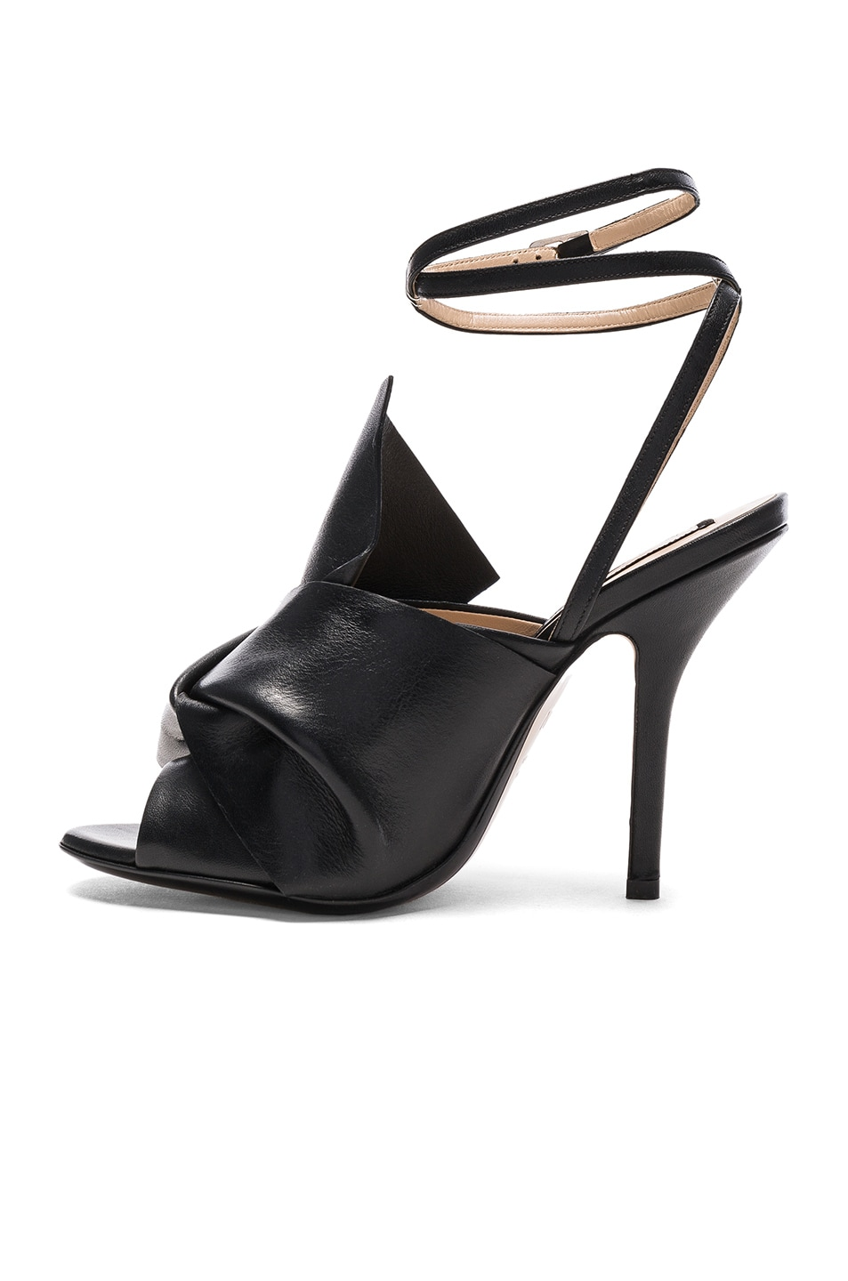 Image 5 of No. 21 Bow Leather Heels in Black