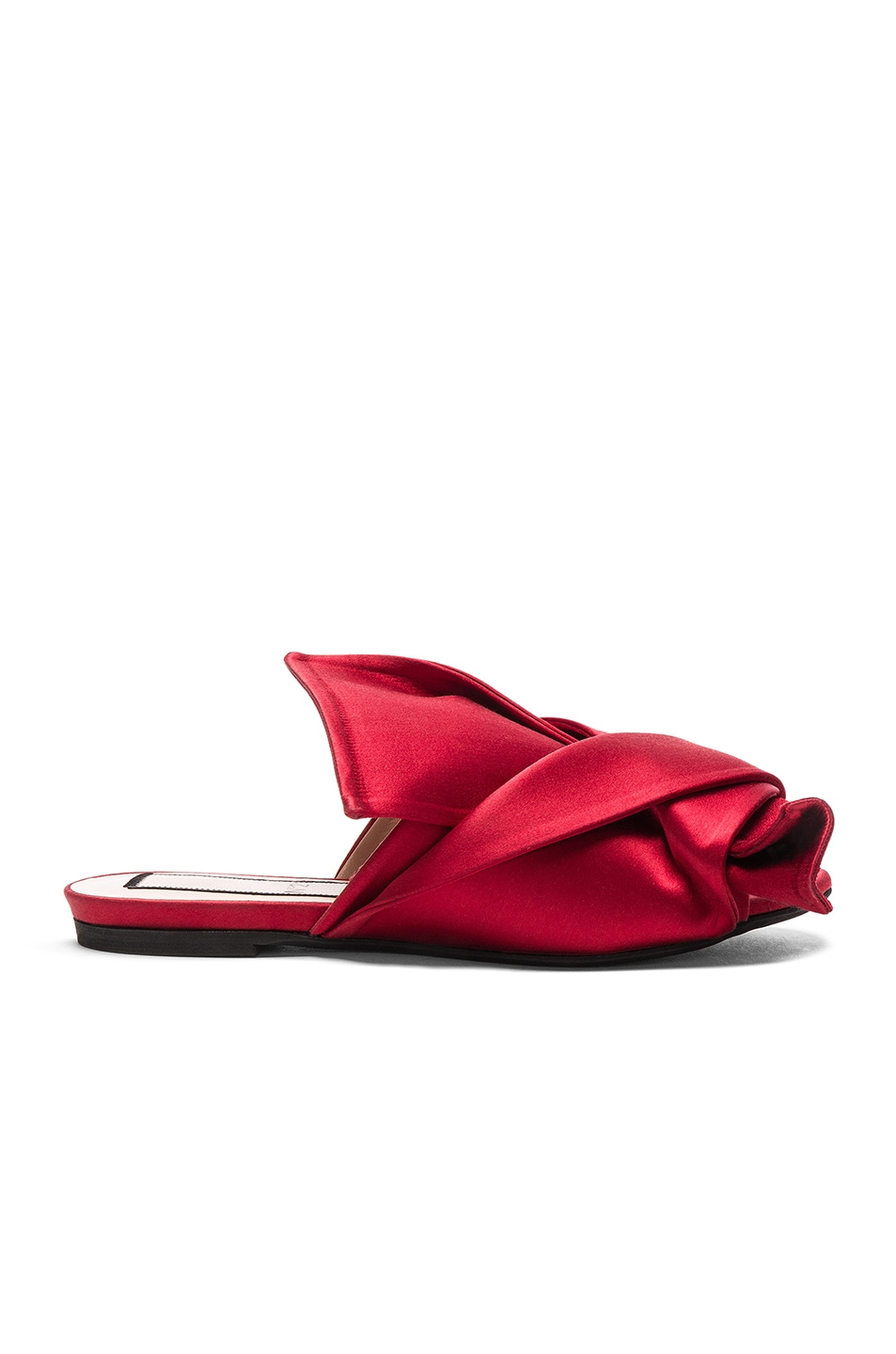 Image 1 of No. 21 Bow Satin Mules in Red