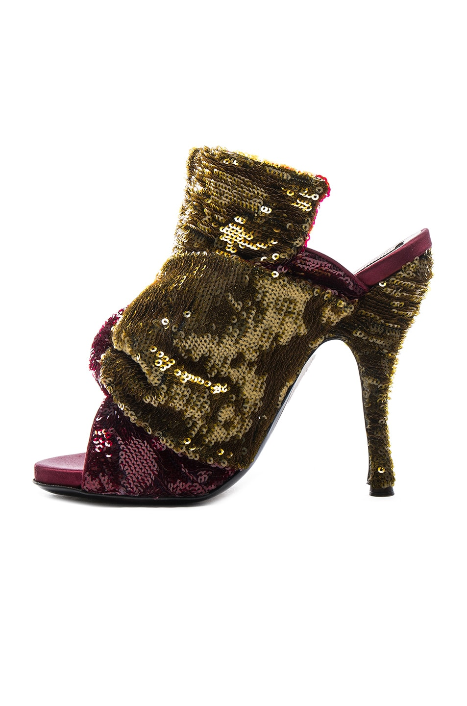 8a6f490aed41 Image 5 of No. 21 Sequin Embellished Bow Mules in Bordeaux   Gold