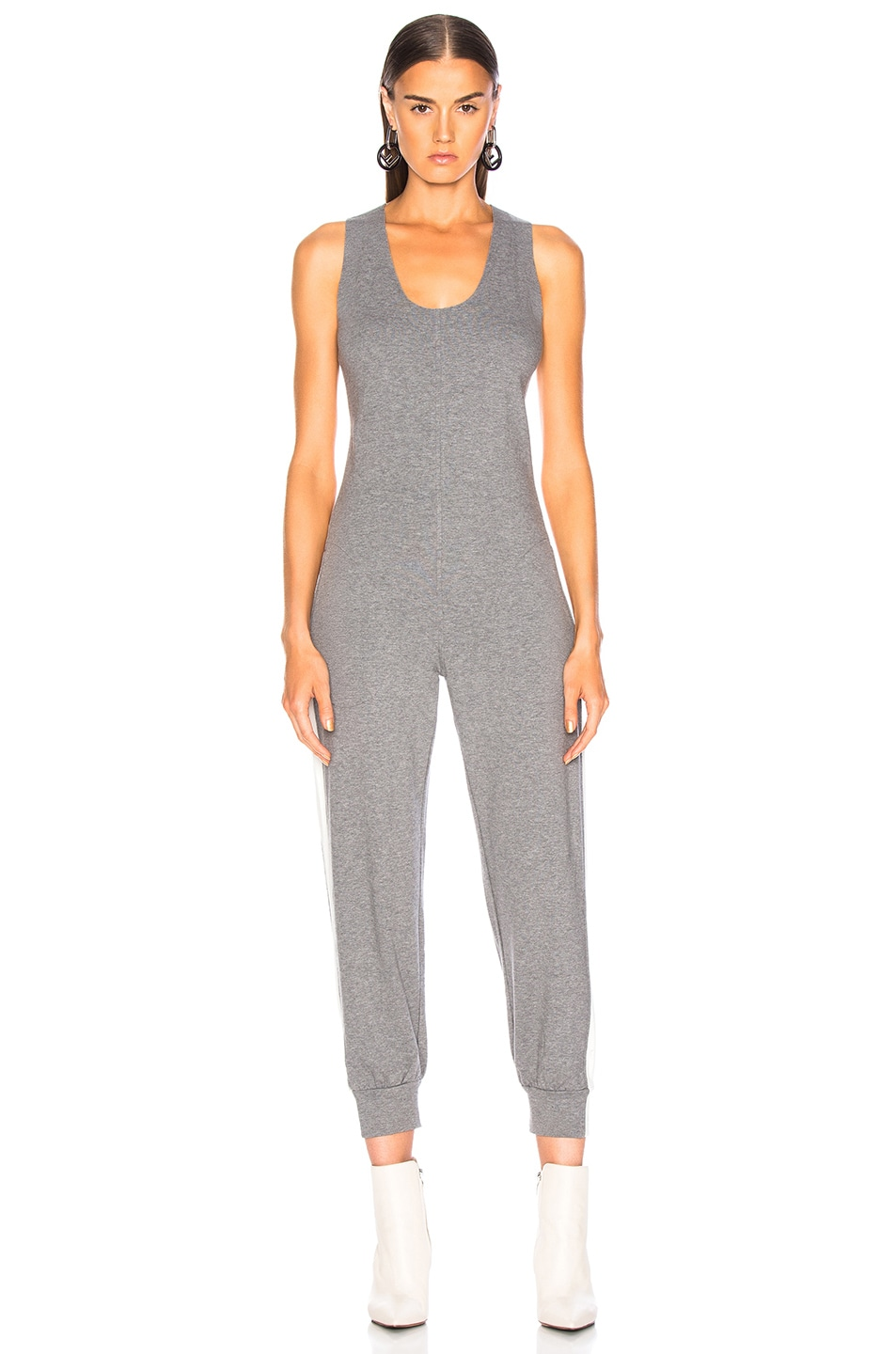 Image 2 of Norma Kamali Side Stripe Cross Back Jog Jumpsuit in Medium Heather Grey & Almost White
