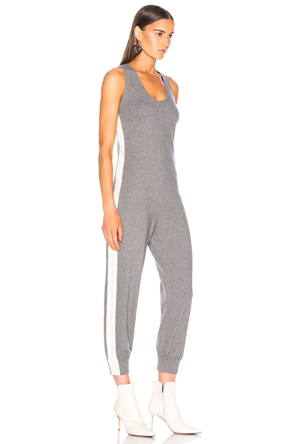Image 3 of Norma Kamali Side Stripe Cross Back Jog Jumpsuit in Medium Heather Grey & Almost White