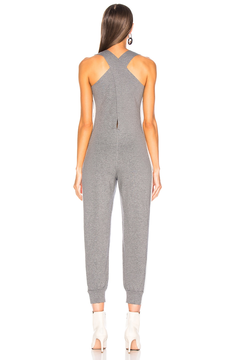 Image 4 of Norma Kamali Side Stripe Cross Back Jog Jumpsuit in Medium Heather Grey & Almost White