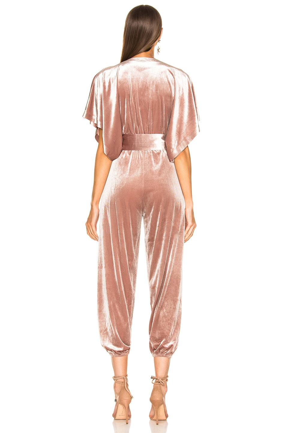 Image 3 of Norma Kamali Rectangle Velvet Jog Jumpsuit in Salmon