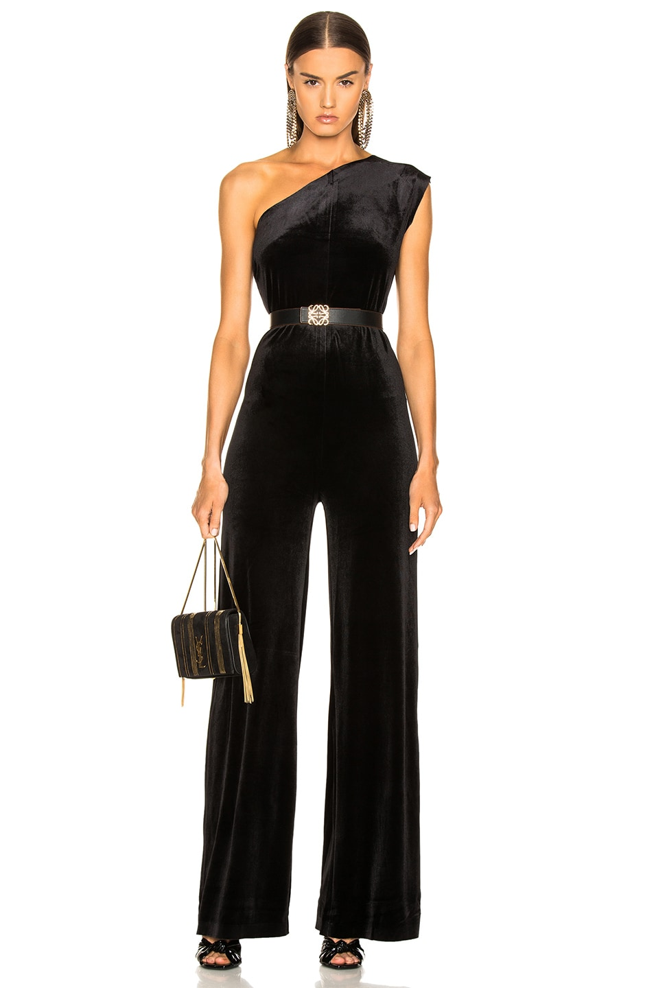 Image 1 of Norma Kamali One Shoulder Velvet Jumpsuit in Black