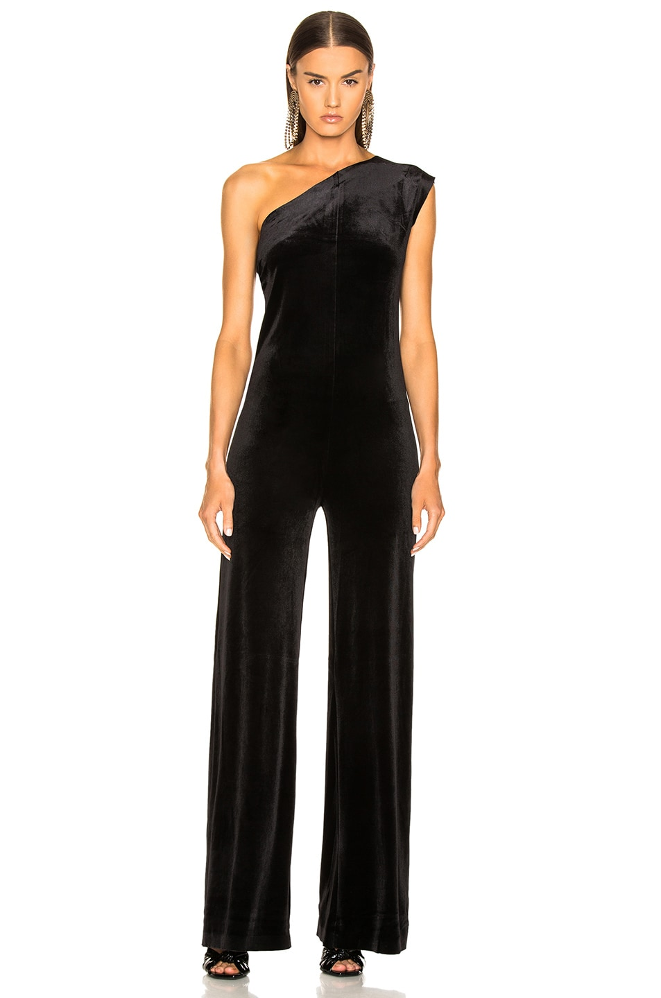 Image 2 of Norma Kamali One Shoulder Velvet Jumpsuit in Black