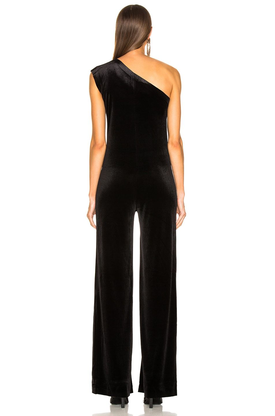 Image 4 of Norma Kamali One Shoulder Velvet Jumpsuit in Black