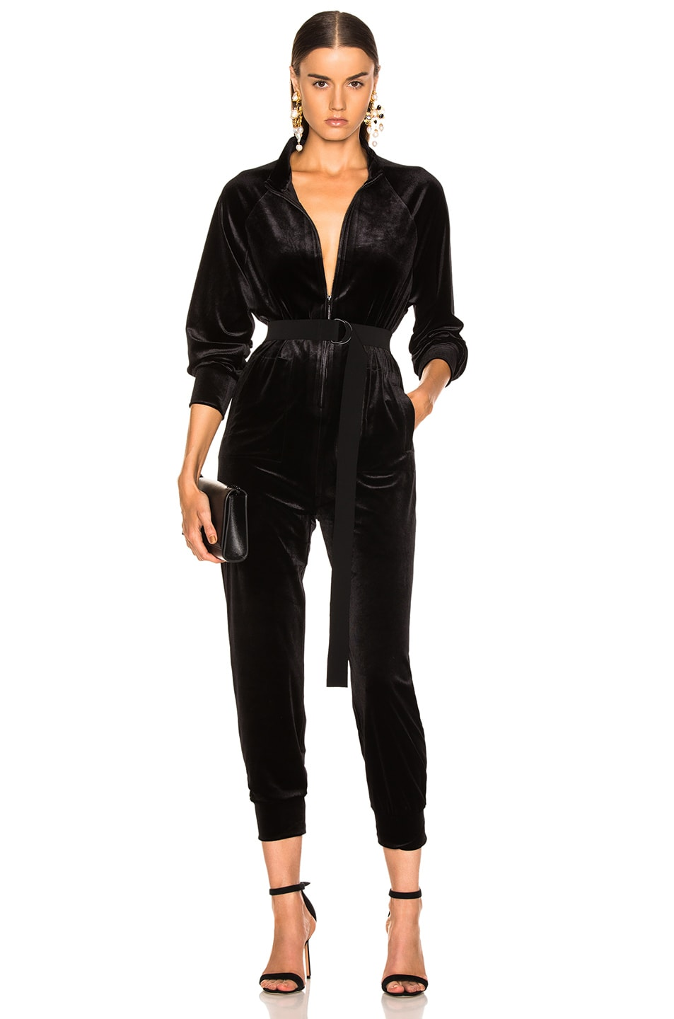 Image 1 of Norma Kamali Turtle Raglan Velvet Jumpsuit in Black